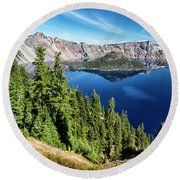 View Of Wizard Island Crater Lake Round Beach Towel