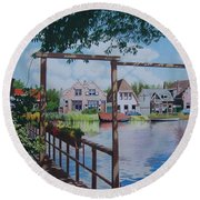 View On Hillegersberg Round Beach Towel