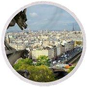 View On Paris City Round Beach Towel