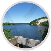 View On The Au Sable Round Beach Towel