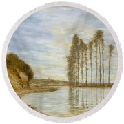 View On The Seine,  Harp Of The Winds , Homer Dodge Martin Round Beach Towel
