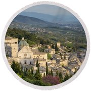 View Over Assisi Round Beach Towel