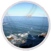 View Over Bass Rock Round Beach Towel