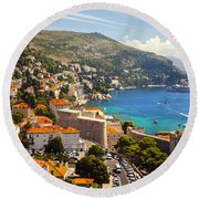 View Over Dubrovnik Coastline Round Beach Towel