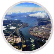 View Over Lasalle Montreal Round Beach Towel