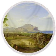 View Over Palermo Round Beach Towel