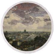 View Over Rooftops Of Paris Round Beach Towel