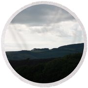 View Over The Mountain Round Beach Towel
