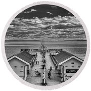 View Over The Pier Mono Round Beach Towel