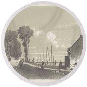 View The Veerweg Culemborg, Jan Weissenbruch, 1847 - 1865 Round Beach Towel