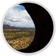 View Through A Portal, Sedona, Arizona Round Beach Towel