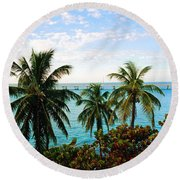 View To The 7 Mile Bridge Round Beach Towel