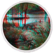 View To The Cove - Use Red-cyan 3d Glasses Round Beach Towel