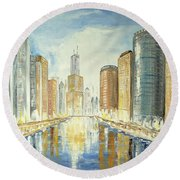 View Up The Chicago River Round Beach Towel