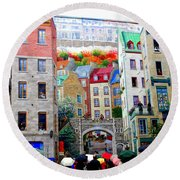 Viewing A Mural At La Fresque Des Quebecois Round Beach Towel