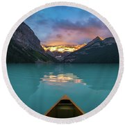 Viewing Snowy Mountain In Rising Sun From A Canoe Round Beach Towel