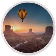 Viewing Sunrise At Monument Valley Round Beach Towel
