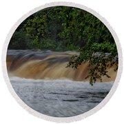 Viewing Tahquamenon Lower Falls Upper Peninsula Michigan 02 Round Beach Towel