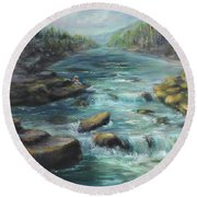 Viewing The Rapids Round Beach Towel