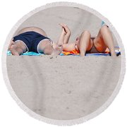Views At The Beach Round Beach Towel
