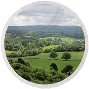 View Of The Surrey Hills From Newlands Corner Round Beach Towel