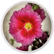 Vignetted Hollyhock Round Beach Towel