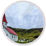Vik Church And Cemetery - Iceland Round Beach Towel