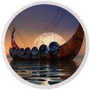Viking Boat Round Beach Towel