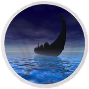 Viking Ship Round Beach Towel by Corey Ford