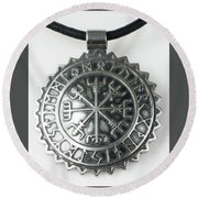 Viking Vegvisir Rune Calendar Sterling Silver Pendant Round Beach Towel
