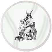 Viking Warrior Round Beach Towel by Melissa A Benson