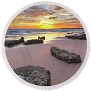 Gale Beach At Sunset. In Algarve Round Beach Towel