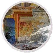 Villa Giallo Atmosfera Artistica - Artistic Atmosphere Round Beach Towel by Enrico Pelos