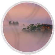 Villa In The Mist - Italy Round Beach Towel