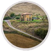 Villa In Tuscany, Italy Round Beach Towel