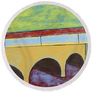 Village And Bridge Round Beach Towel