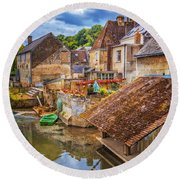 Village At The River Round Beach Towel
