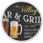Village Bar And Grill Round Beach Towel