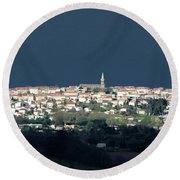Village Before The Storm Round Beach Towel