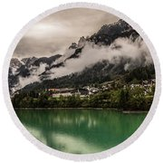 Village By The Lake Round Beach Towel