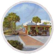 Village Cafe, Siesta Key Round Beach Towel