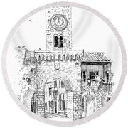 Village Gate In Old Le Thor France Round Beach Towel