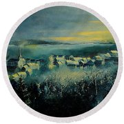 Village In A Misty Morning  Round Beach Towel