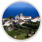Village In The Azores Round Beach Towel