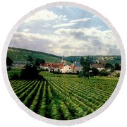 Village In The Vineyards Of France Round Beach Towel