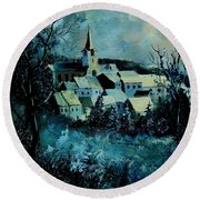 Village In Winter Round Beach Towel