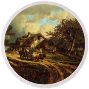 Village Landscape 1844 Round Beach Towel