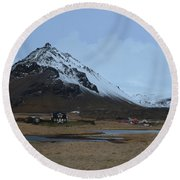 Village Of Arnastapi At The Base Of Mount Stapafell Round Beach Towel