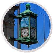 Village Of Elmore Clock-vertical Round Beach Towel