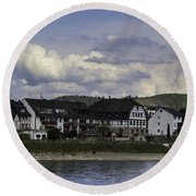 Village Of Spay And Marksburg Castle Round Beach Towel
